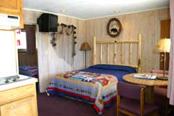 Sampe bedroom with light wood paneling
